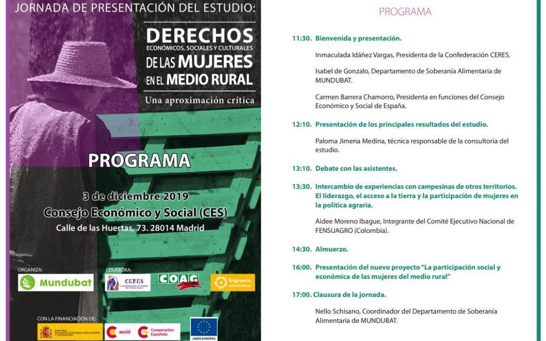 """El próximo 3 de diciembre se presentará el estudio """"Derechos económicos, sociales y culturales de las mujeres en el medio rural»"""