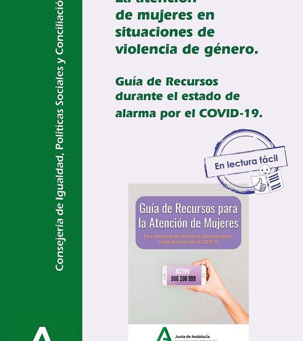 Igualdad adapta a lectura fácil la guía de recursos para víctimas de violencia de género elaborada por el IAM por la crisis del COVID-19